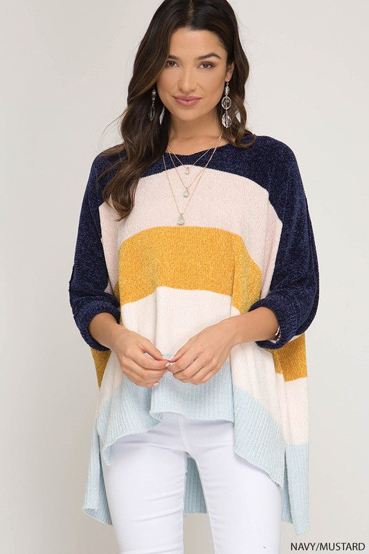 Chandra Color Block Sweater - Navy Multi