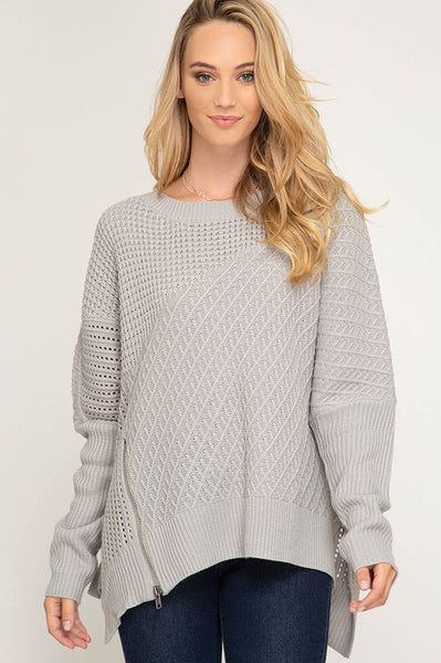Opal Oversized Zipper Sweater - Grey