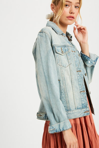 Chelsea Pocketed Denim Jacket - L. Blue