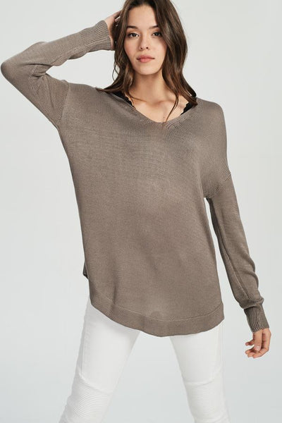 Molly Lace Up Sweater - Mocha