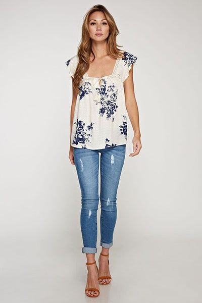 Else Flutter Sleeve Top - White