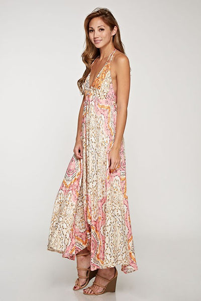 Paisley Print Halter Dress - Pink