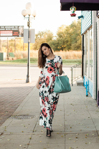 Ashley Floral Maxi Dress - White