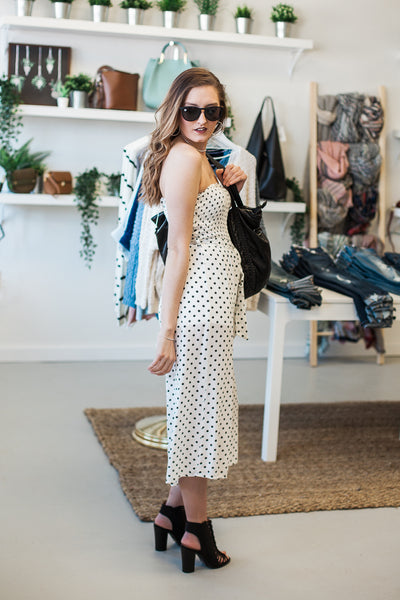 Polka Dot Jumpsuit - White