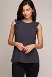 Chantel Ruffle Top - Charcoal