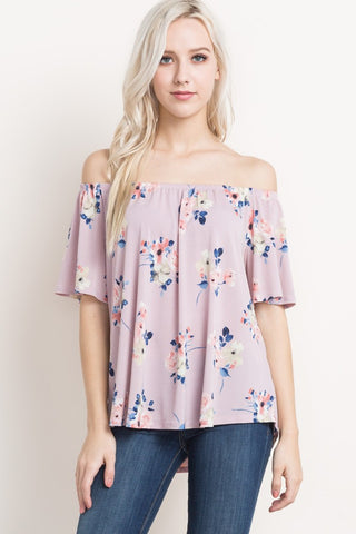 Off the Shoulder top in Dusty Pink