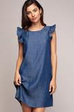 Allie Frayed Sleeve Shift Dress - Denim Blue