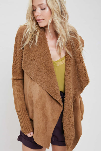 Savannah Draped Front Cardigan - Camel