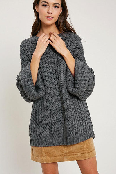Courtney Cable Knit Sweater - Dark Grey