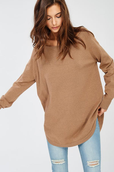 Holly Scoop Side Top - Camel