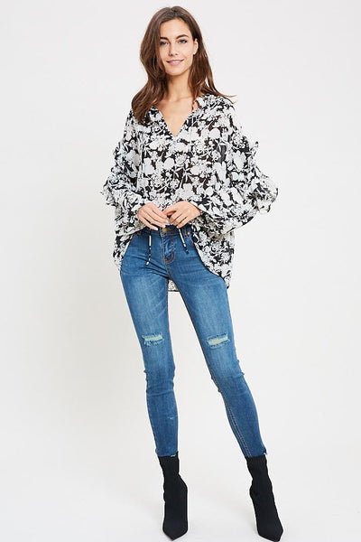 Frankie Floral Ruffle Top - Black