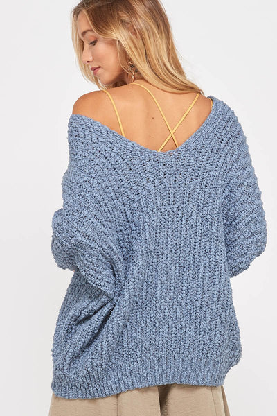 Chelsea Popcorn V-Neck Sweater - Misty Blue