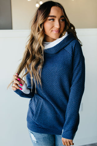 Stacie Doublehood Sweatshirt - Navy Speckle