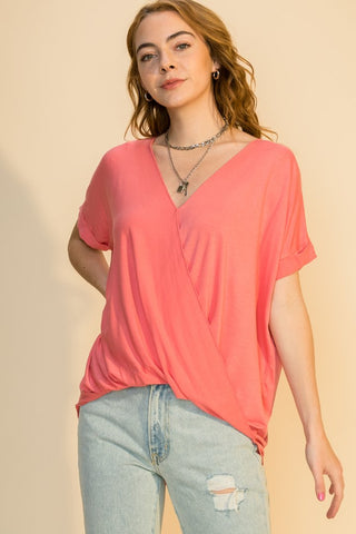 Lynwood Drape Front Top - Coral