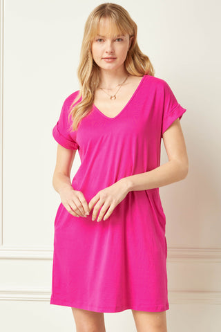 Tia Pocketed Shirt Dress - Fuchsia