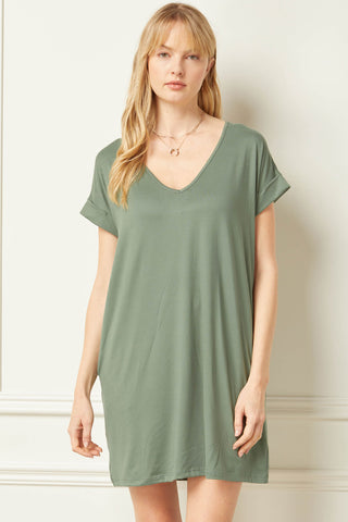 Tia Pocketed Shirt Dress - Army