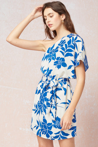 Blooming In Style Mini Dress - Ivory/Blue