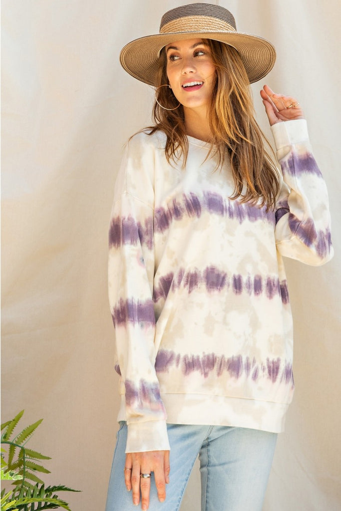Unwind Knit Sweatshirt - Dusty Lilac