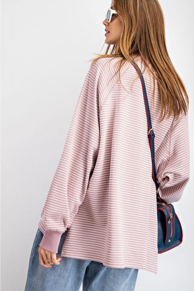 Nia Pin Striped Pullover - Mauve