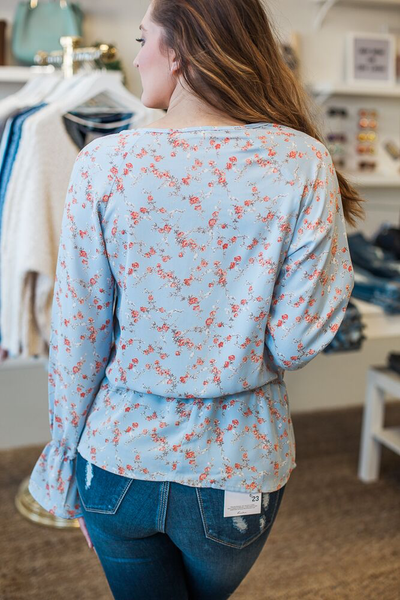 Penny Floral Top - Light Blue