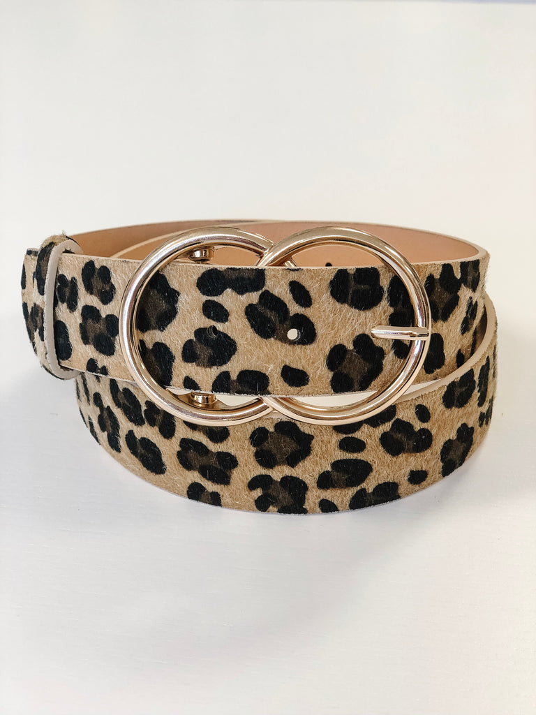 Stevie Double Buckle Belt - Light Leopard