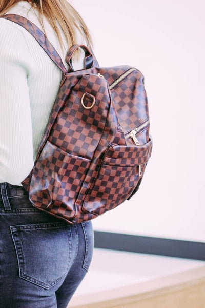 Lacey Backpack Purse - Brown