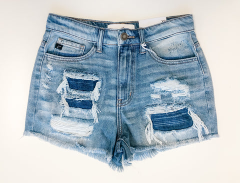 Gypsy High Rise Distressed Shorts - Light Wash