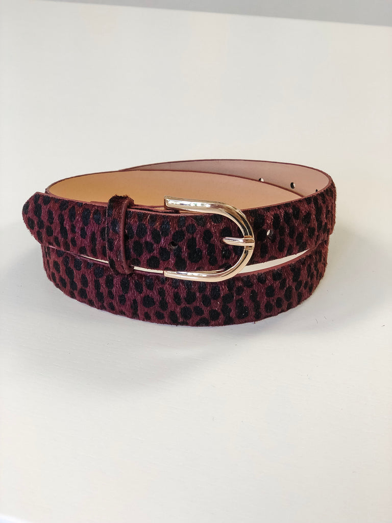 Isabel Faux Fur Belt - Burgundy