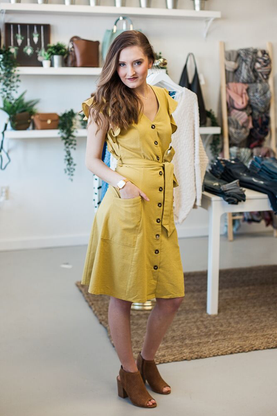 Lauren Ruffle Sleeve Dress - Mustard
