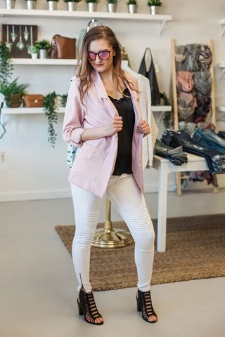 Uptown Girl Pocketed Blazer - Blush