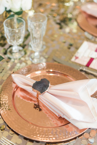 Tabletop - Copper Chargers - Main Street Weddings & Events