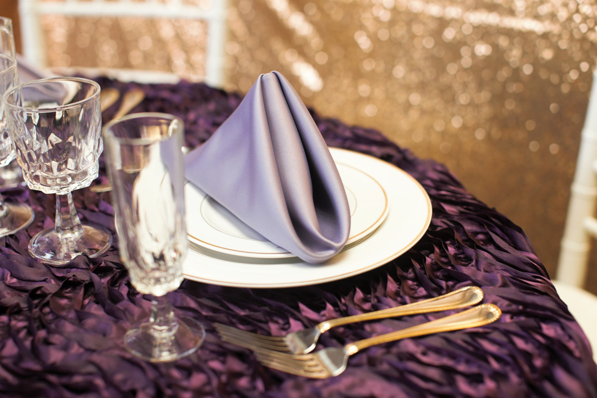 Linen - Plum Waves - Main Street Weddings & Events