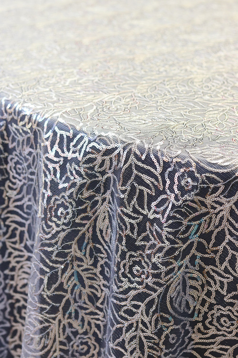 Linen - Silver Leaf Sequins - Main Street Weddings & Events