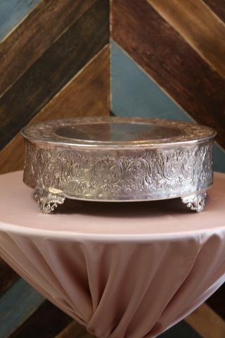 "Tabletop - Silver Cake Stand - 18"" Round - Main Street Weddings & Events"