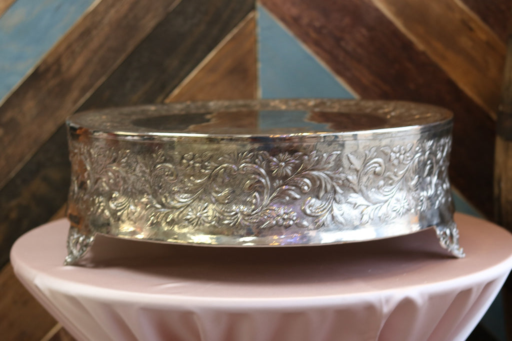 "Silver Cake Stand - 22"" Round"