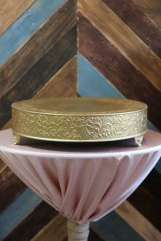 "Tabletop - Gold Cake Stand - 22"" Round - Main Street Weddings & Events"