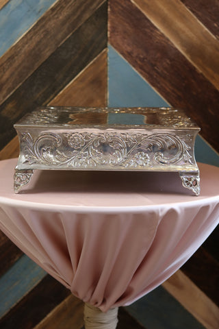 "Tabletop - Silver Cake Stand - 18"" Square - Main Street Weddings & Events"