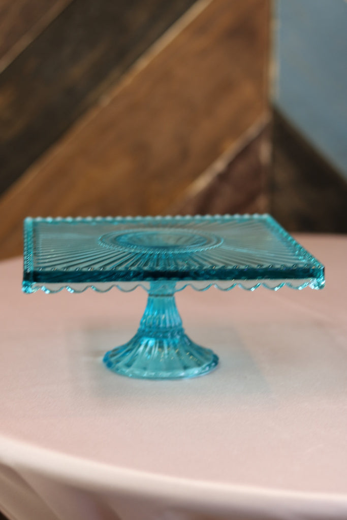 "Tabletop - Turquoise Cake Plate - 8"" Square - Main Street Weddings & Events"