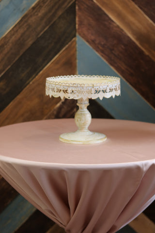 "Tabletop - Cream Vintage Cake Stand - 10"" Round - Main Street Weddings & Events"