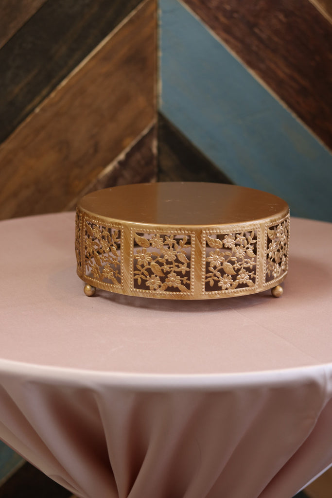 "Tabletop - Gold Cake Stand - 10"" Round - Main Street Weddings & Events"