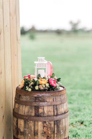Decor - Whiskey Barrels - Main Street Weddings & Events