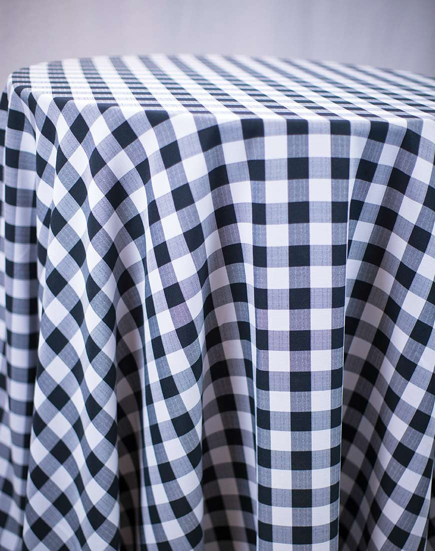 Linen - Black Check Polyester - Main Street Weddings & Events