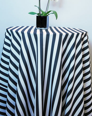 Linen - Black Stripe Polyester - Main Street Weddings & Events