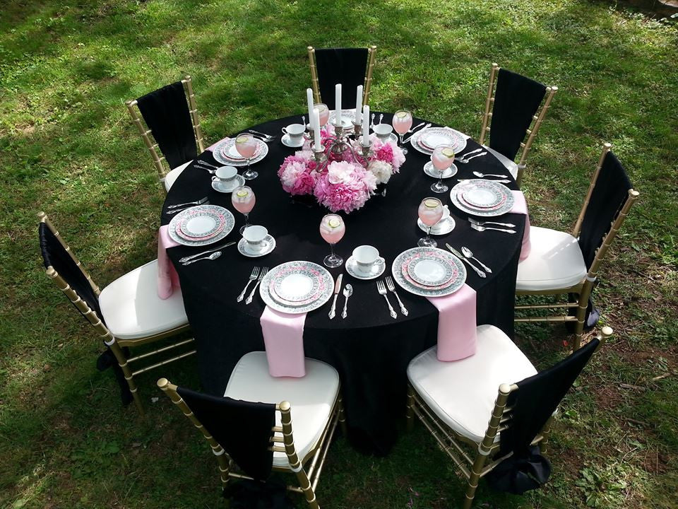 Linen - Black Matte Satin - Main Street Weddings & Events