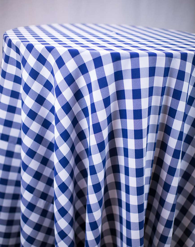 Linen - Blue Check Polyester - Main Street Weddings & Events