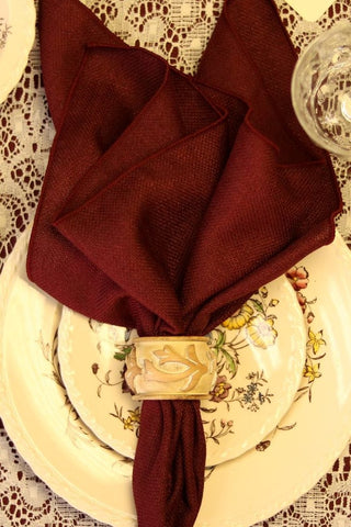 Linen - Burgundy Textured Weave - Main Street Weddings & Events
