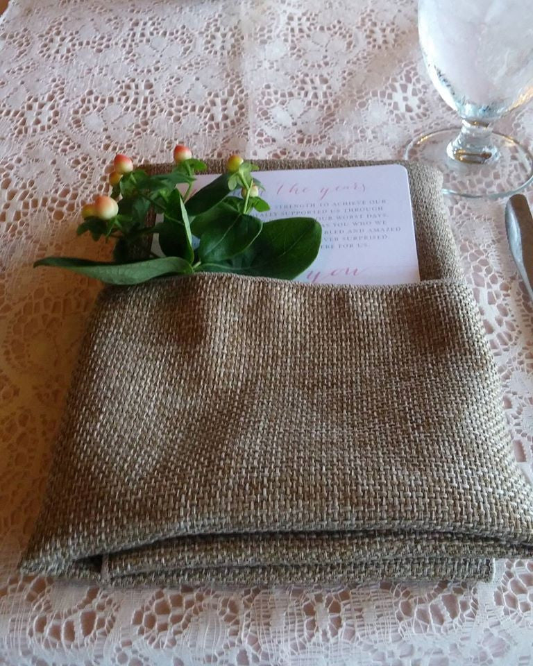 Linen - Natural Burlap Textured Weave - Main Street Weddings & Events