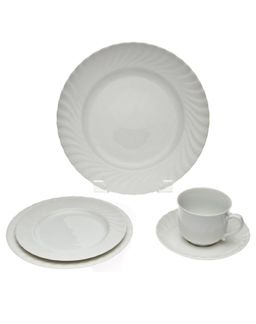 Tabletop - White Swirl China - Main Street Weddings & Events