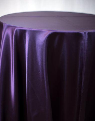 Linen - Eggplant Satin - Main Street Weddings & Events