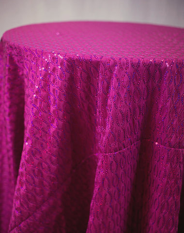 Linen - Fuchsia Vortex Sequins - Main Street Weddings & Events